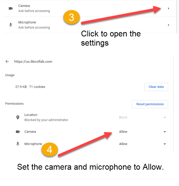 image of allow for microphone and video