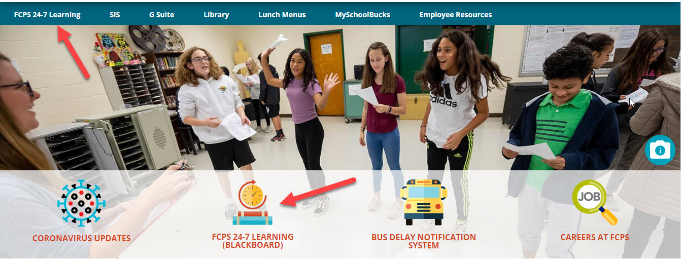image of fcps web page showing where to click for Blackboard