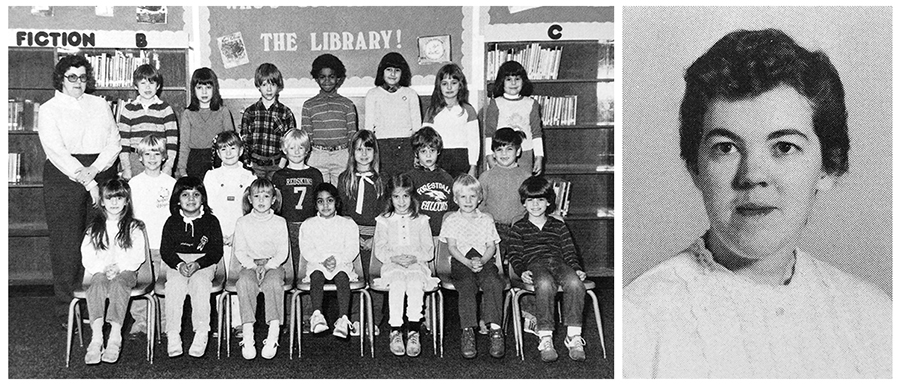 Two black and white yearbook photographs of Patricia Plummer. The photograph on the left is from our 1983 to 1984 yearbook. She is pictured with her class of first graders. There are 21 children, arranged in three rows, and she is standing behind them on the far left. The photograph on the right is Plummer's head-and-shoulders staff portrait from our 1964 to 1965 yearbook.
