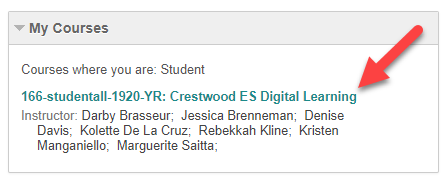 Link in my courses to crestwood es digital learning